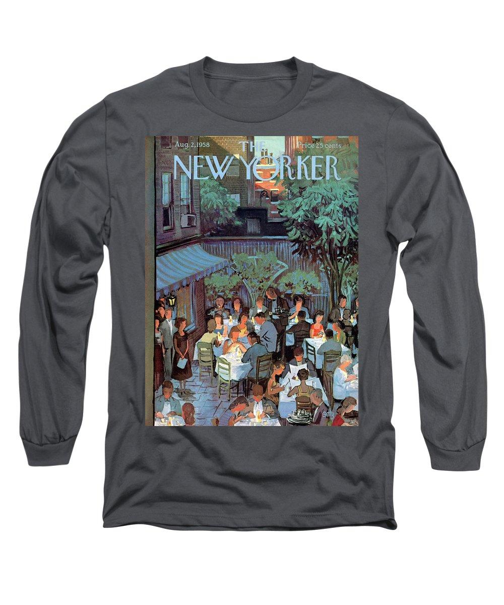 Arthur Getz Agt Long Sleeve T-Shirt featuring the painting New Yorker August 2nd, 1958 by Arthur Getz