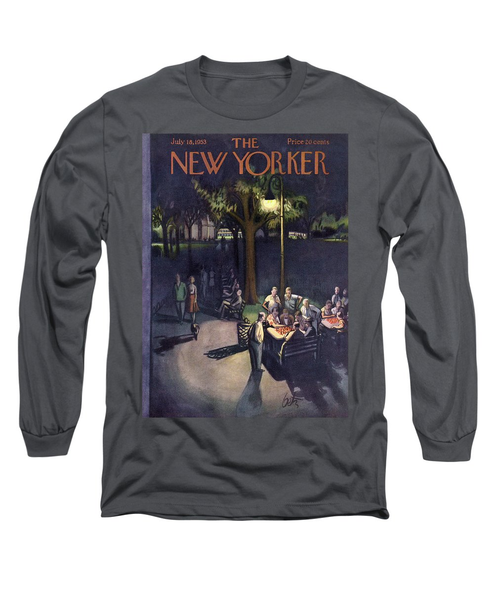 Urban Long Sleeve T-Shirt featuring the painting New Yorker July 18th, 1953 by Arthur Getz