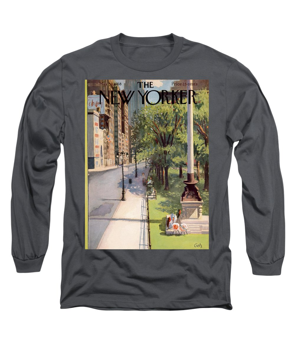 Arthur Getz Agt Long Sleeve T-Shirt featuring the painting New Yorker May 31st, 1958 by Arthur Getz