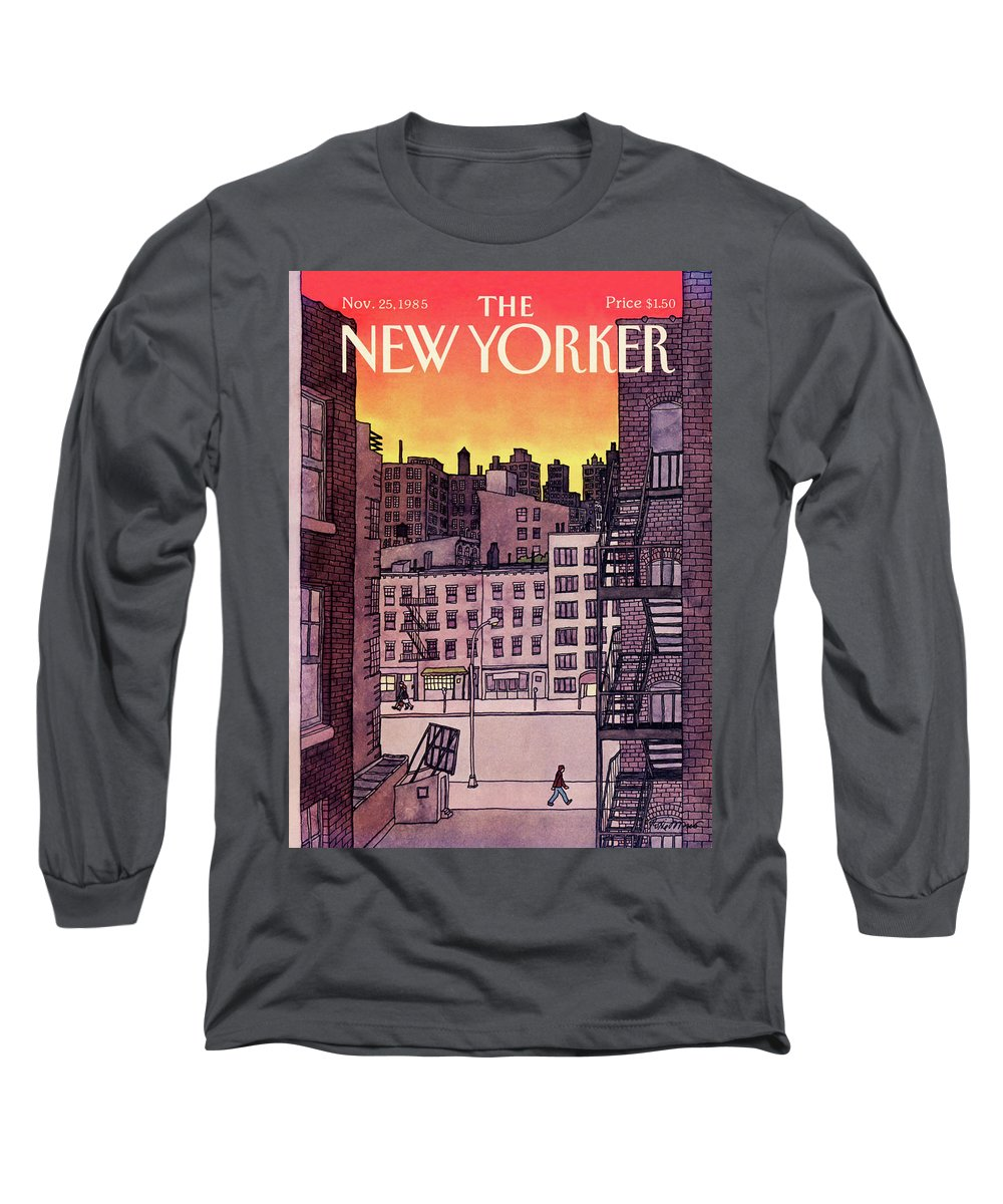 New York City Long Sleeve T-Shirt featuring the painting New Yorker November 25th, 1985 by Roxie Munro