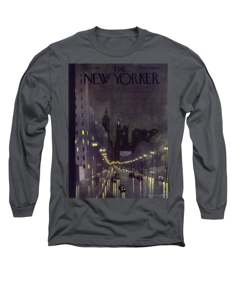 Illustration Long Sleeve T-Shirt featuring the painting New Yorker October 29 1932 by Arthur K. Kronengold