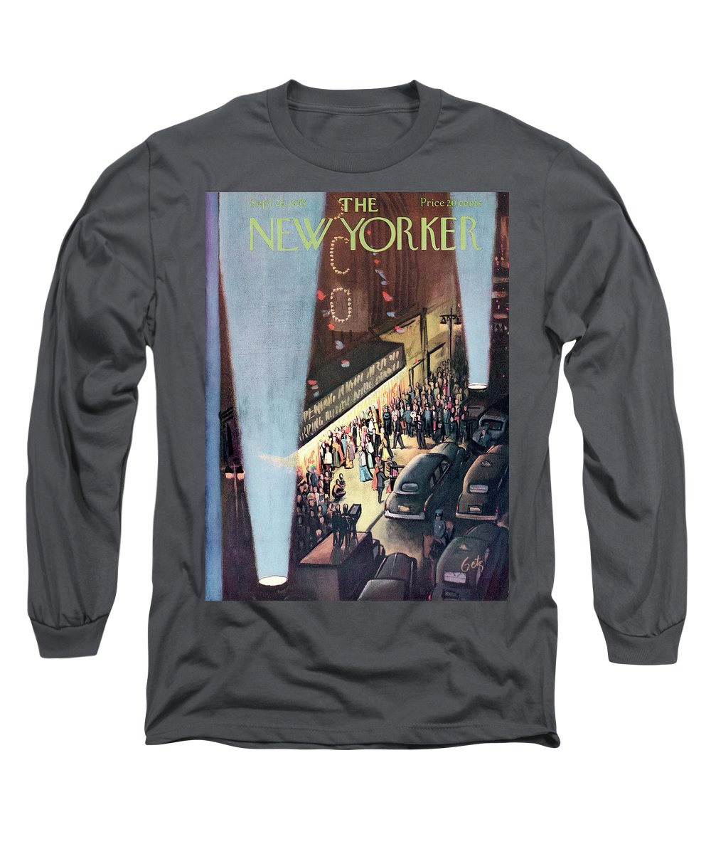 Urban City Manhattan New York City Skyscraper Skyscrapers Concert Music Musical Hall Theatre Performance Entertainment  Actors Actor Actress Dancer Performer Player Encore Orchestra Symphony Curtain Premiere Movie Film Motion Picture Party Celebration Gathering Event  Arthur Getz Agt Sumnerok Artkey 49309 Long Sleeve T-Shirt featuring the painting New Yorker September 26th, 1953 by Arthur Getz