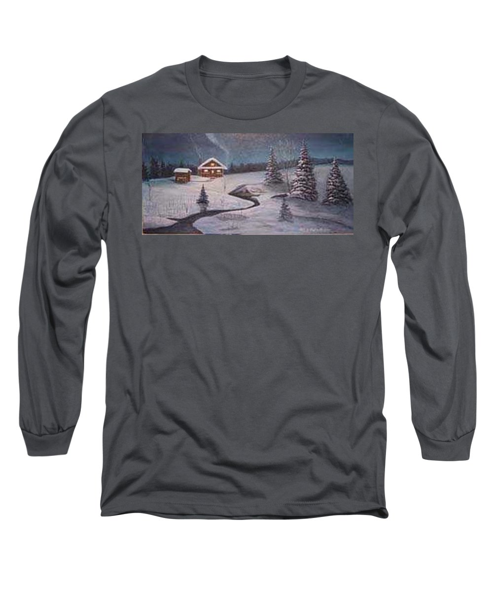 Rick Huotari Long Sleeve T-Shirt featuring the painting North Woods Cabin by Rick Huotari