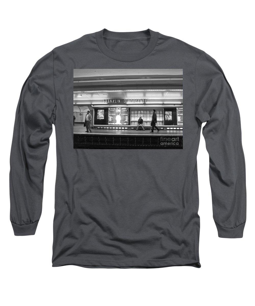 Paris Long Sleeve T-Shirt featuring the photograph Paris Metro - Franklin Roosevelt Station by Thomas Marchessault