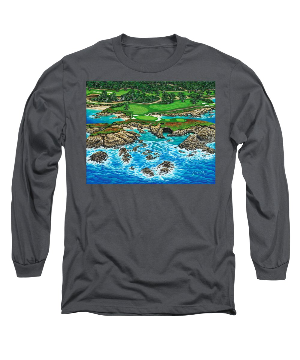 Ocean Long Sleeve T-Shirt featuring the painting Pebble Beach 15th Hole-north by Jane Girardot