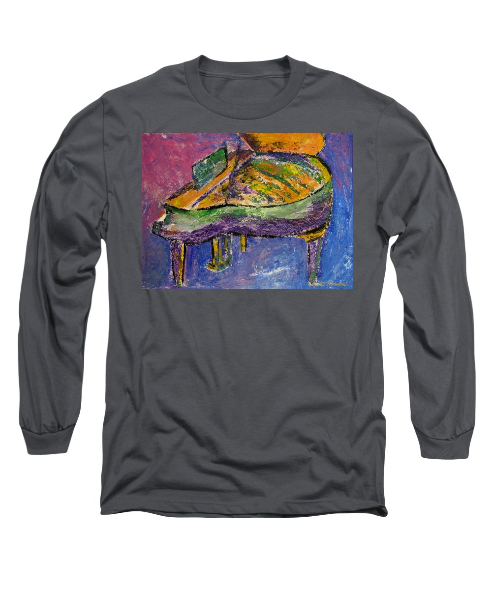 Impressionist Long Sleeve T-Shirt featuring the painting Piano Purple by Anita Burgermeister