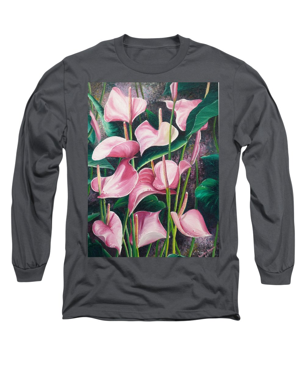 Floral Flowers Lilies Pink Long Sleeve T-Shirt featuring the painting Pink Anthuriums by Karin Dawn Kelshall- Best