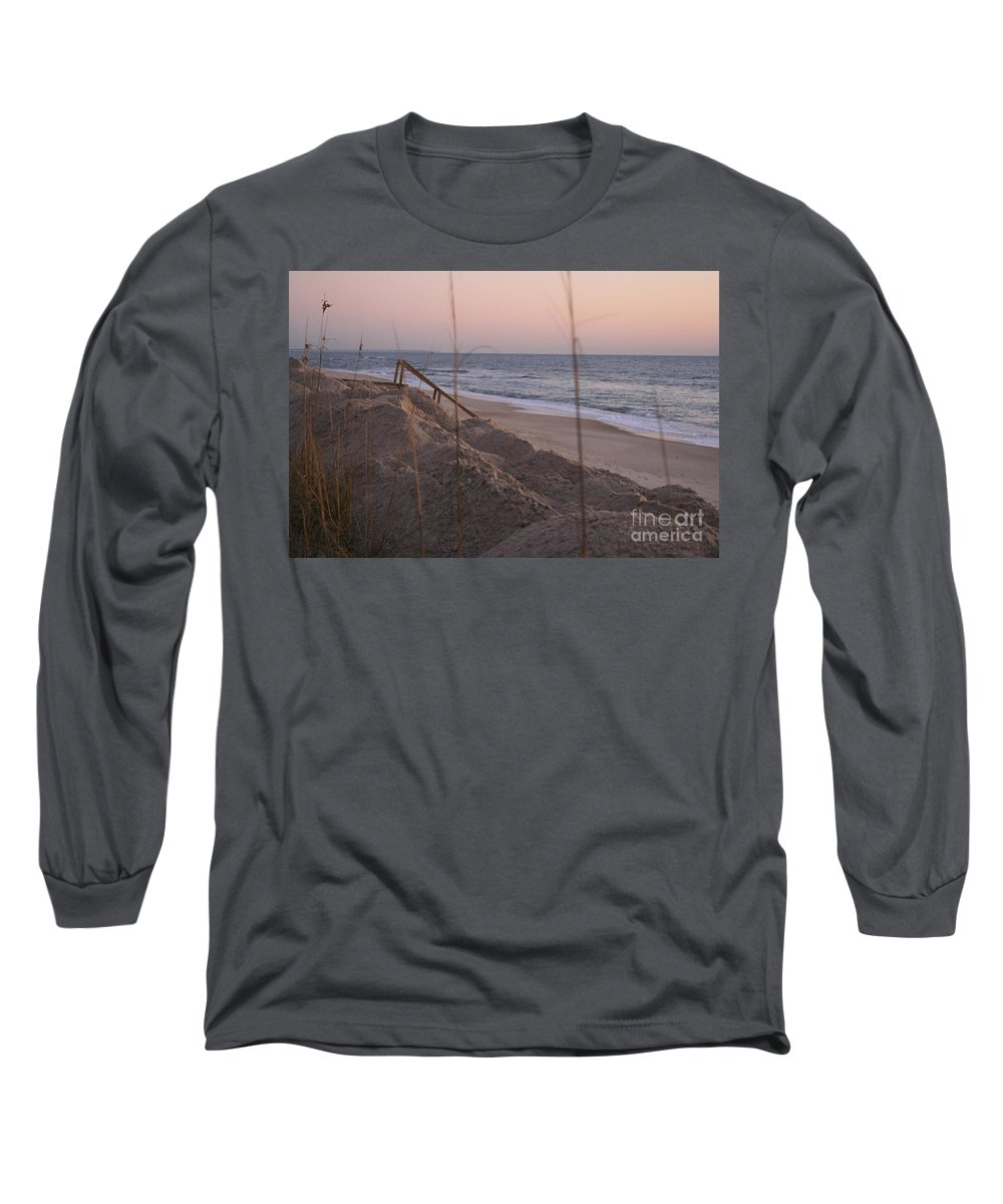 Pink Long Sleeve T-Shirt featuring the photograph Pink Sunrise On The Beach by Nadine Rippelmeyer