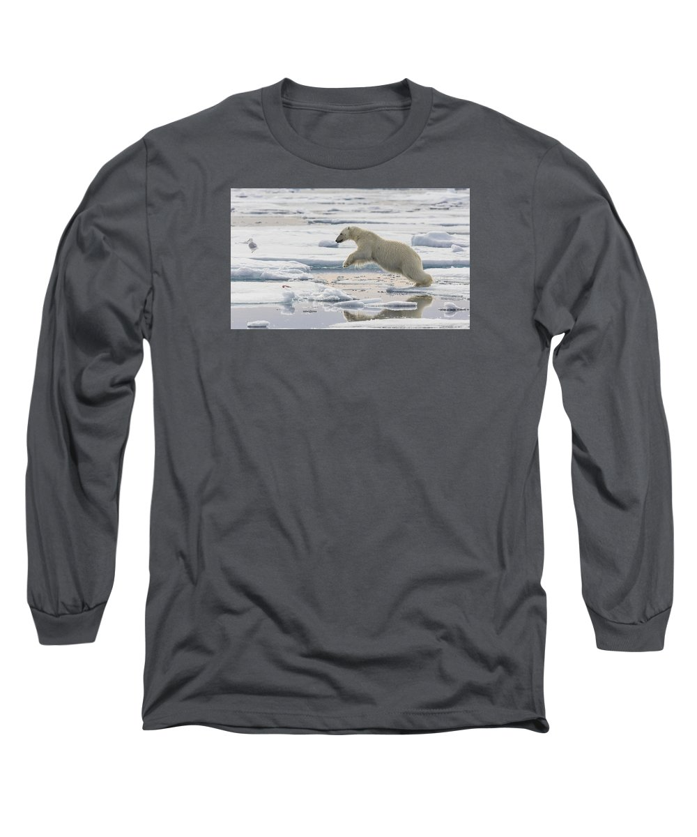 Nis Long Sleeve T-Shirt featuring the photograph Polar Bear Jumping by Peer von Wahl
