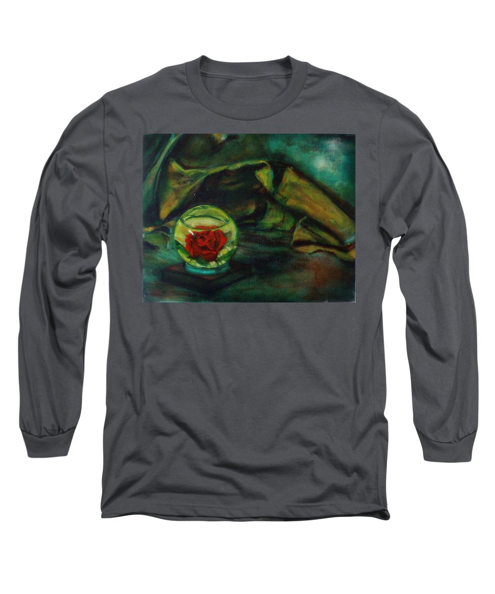 Still Life Long Sleeve T-Shirt featuring the painting Preserved Rose . . Draped Canvas by Sean Connolly