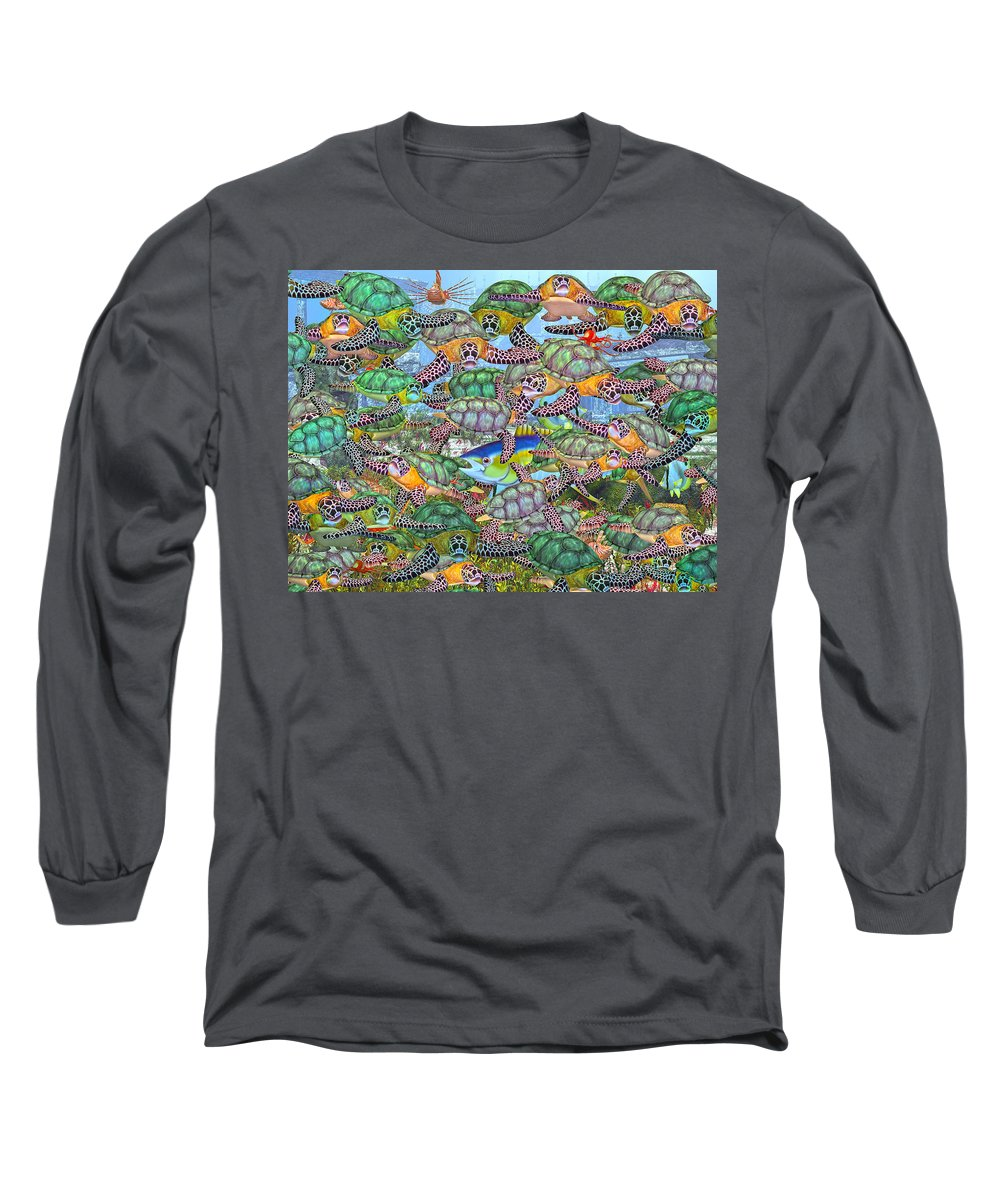Turtles Long Sleeve T-Shirt featuring the digital art Protecting Mr. Bluefin by Betsy Knapp