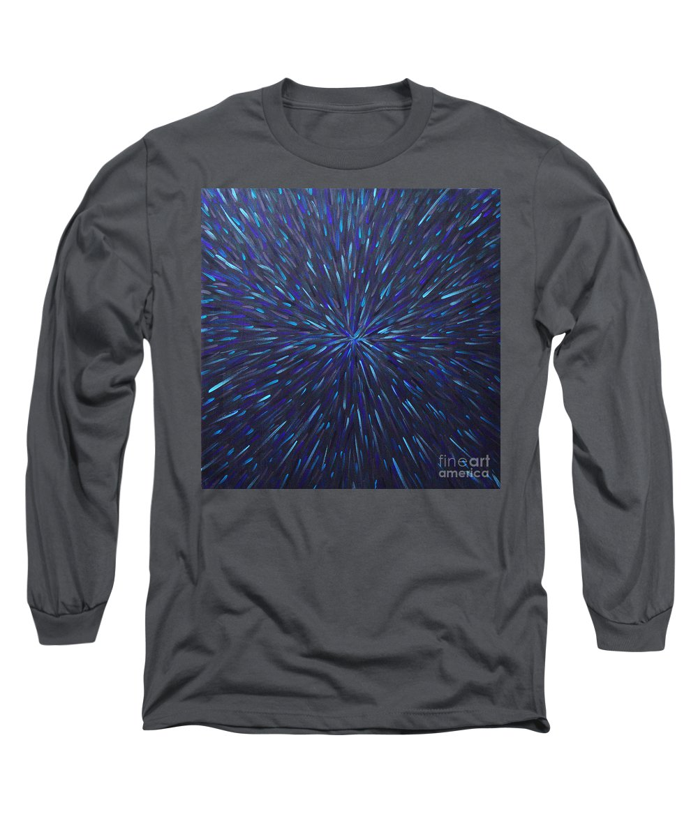 Abstract Long Sleeve T-Shirt featuring the painting Radiation Grey by Dean Triolo