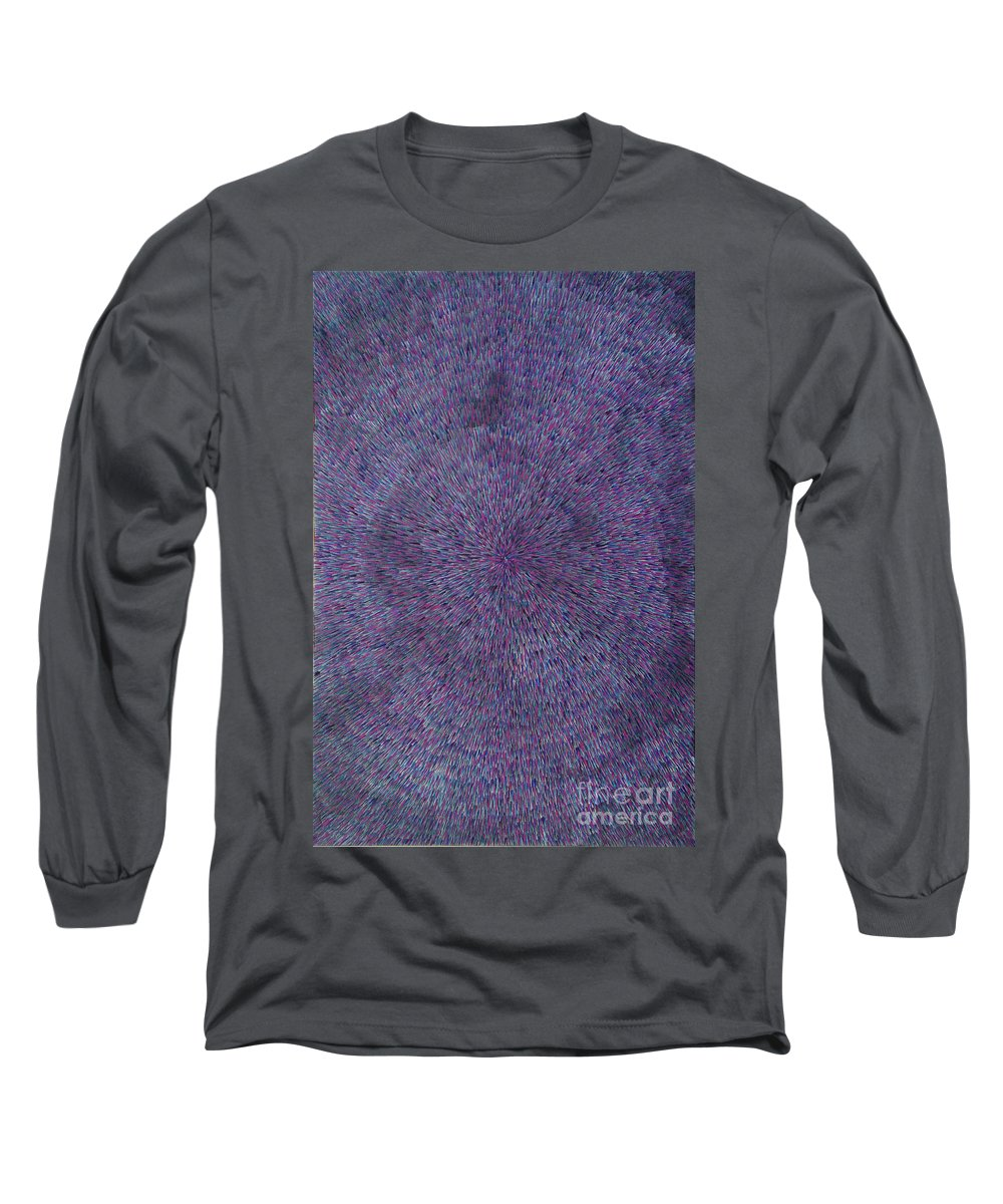 Abstract Long Sleeve T-Shirt featuring the painting Radiation Violet by Dean Triolo