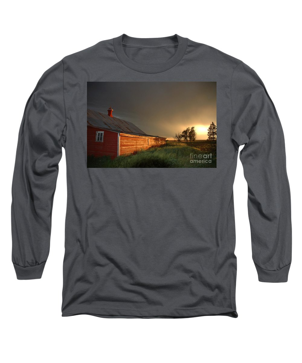 Barn Long Sleeve T-Shirt featuring the photograph Red Barn At Sundown by Jerry McElroy