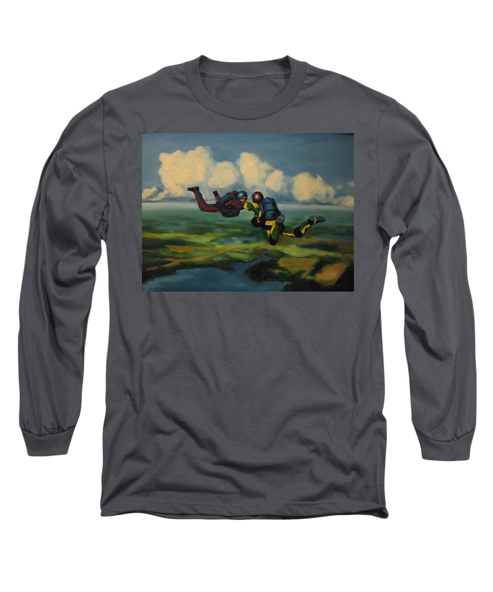 Skydivers Long Sleeve T-Shirt featuring the painting Relative Work by John Malone