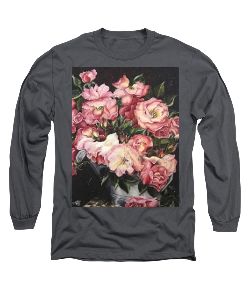 Pink Roses Floral Flowers Long Sleeve T-Shirt featuring the painting Roses In A Watercan by Karin Dawn Kelshall- Best
