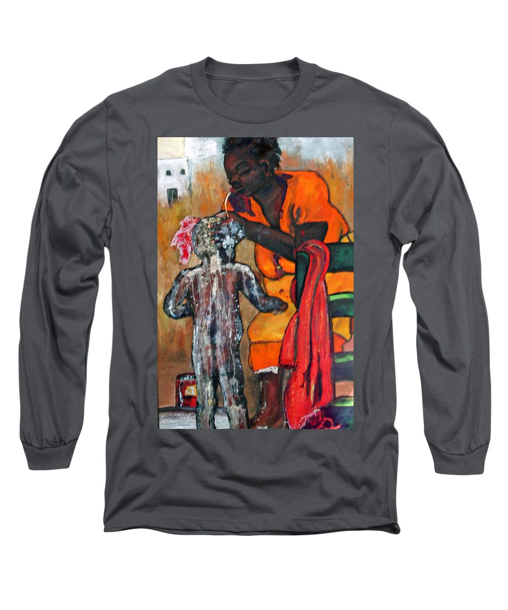 Mom Bathing Boy Long Sleeve T-Shirt featuring the painting Saturday Night Bath by Peggy Blood