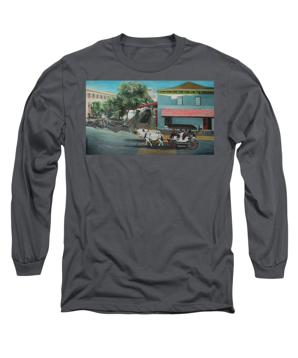 Long Sleeve T-Shirt featuring the painting Savannah City Market by Jude Darrien