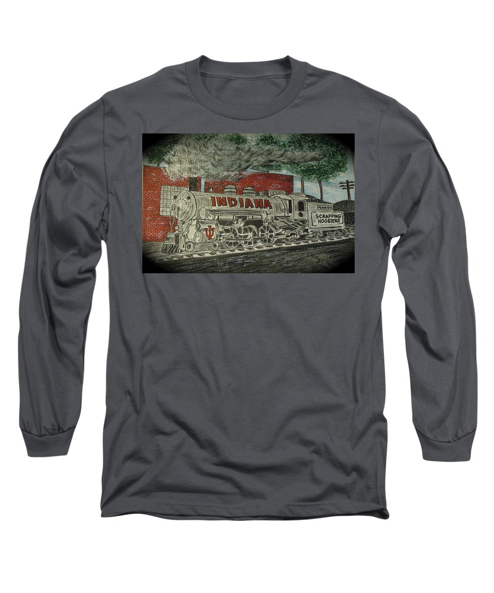 Scrapping Hoosiers Long Sleeve T-Shirt featuring the painting Scrapping Hoosiers Indiana Monon Train by Kathy Marrs Chandler