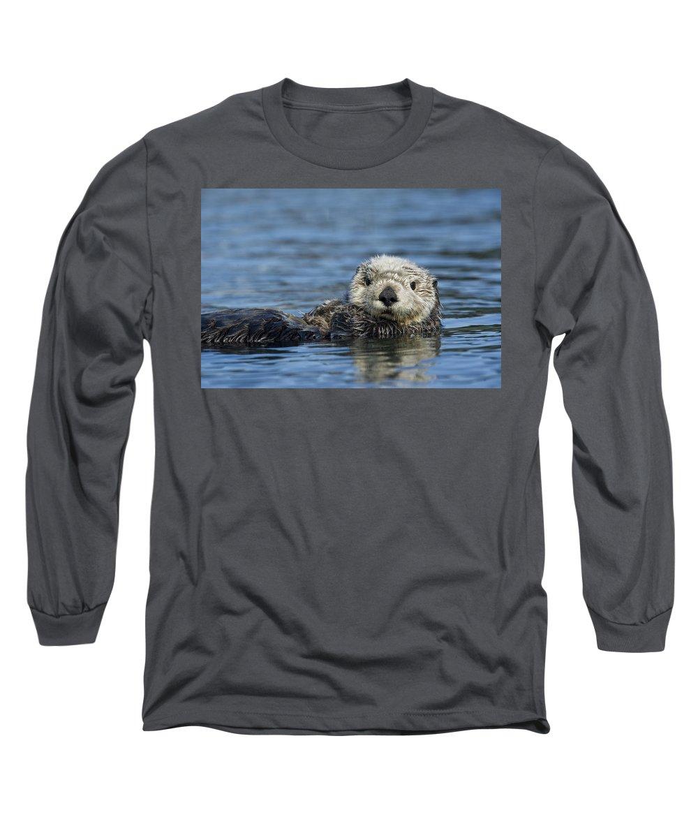 Michael Quinton Long Sleeve T-Shirt featuring the photograph Sea Otter Alaska by Michael Quinton