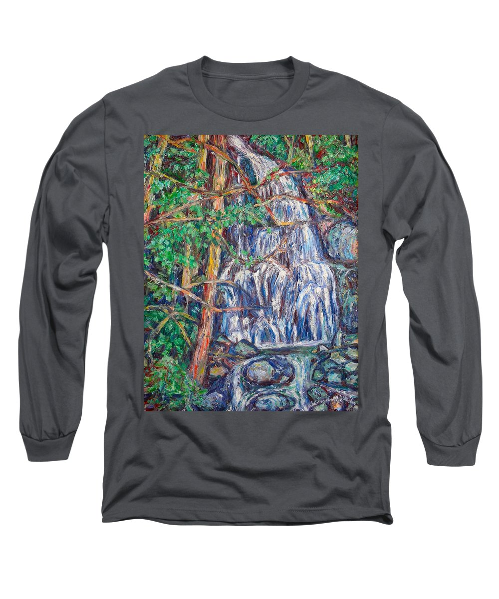 Waterfall Long Sleeve T-Shirt featuring the painting Secluded Waterfall by Kendall Kessler