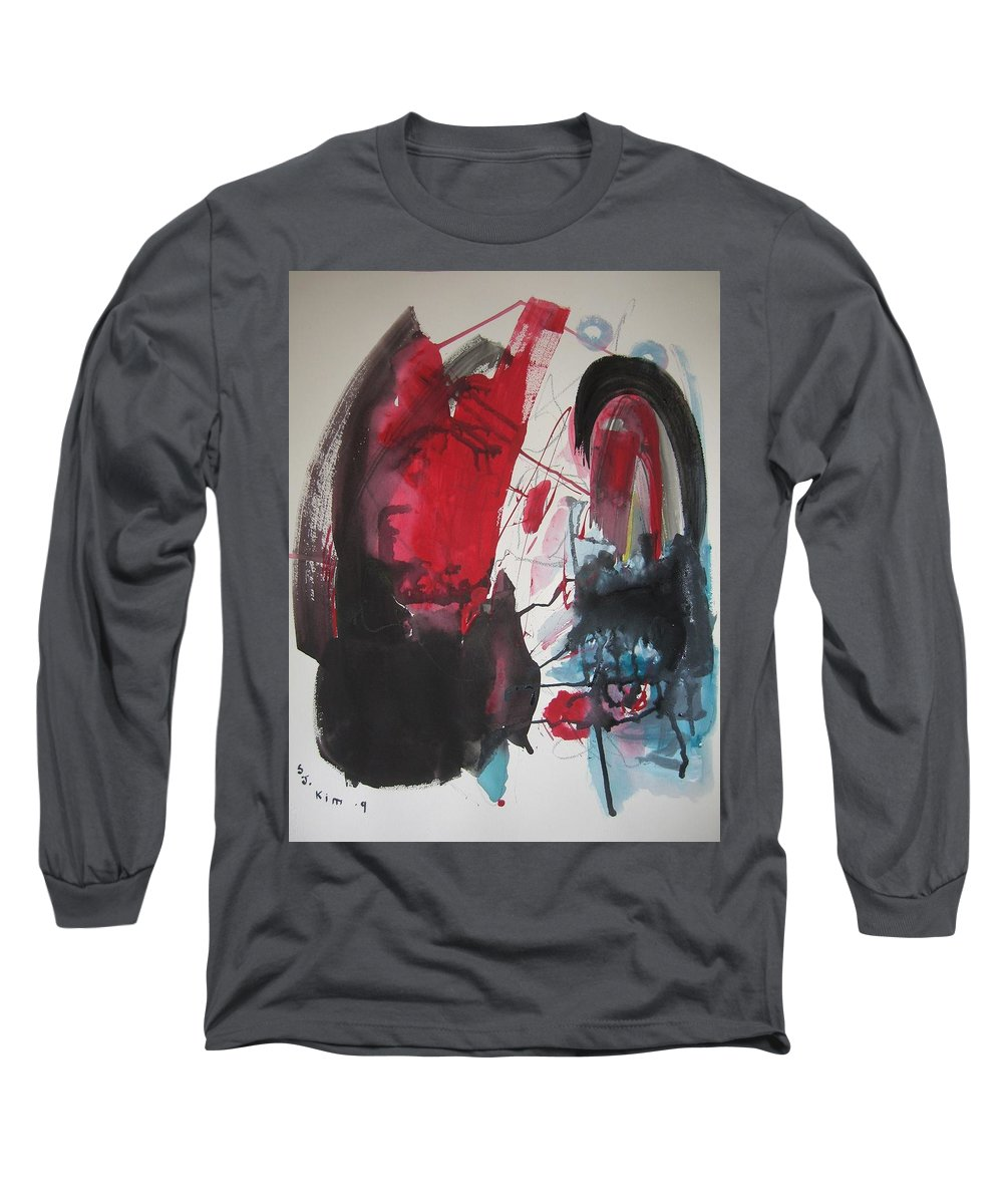 Red Paintings Long Sleeve T-Shirt featuring the painting Seem To Happen Suddenly Original Abstract Colorful Landscape Painting For Sale Red Blue Green by Seon-Jeong Kim