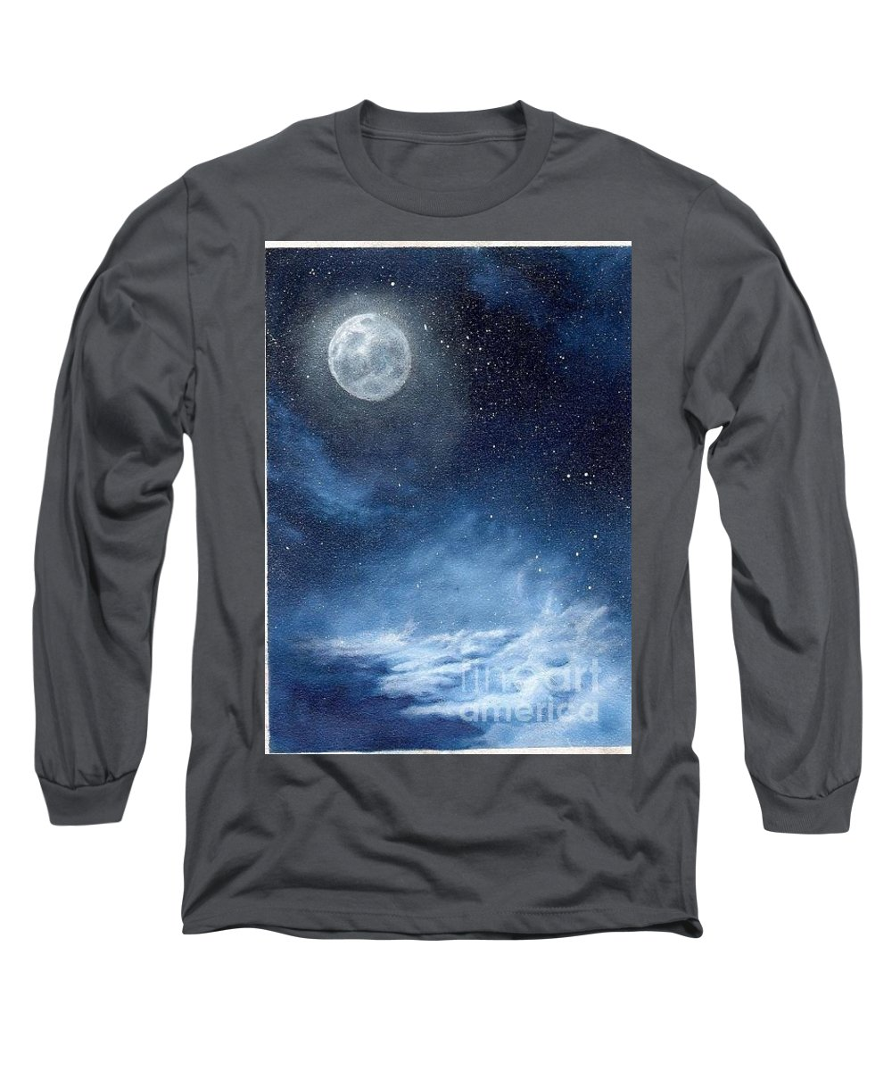 Cosmos Long Sleeve T-Shirt featuring the painting Shimmer by Murphy Elliott