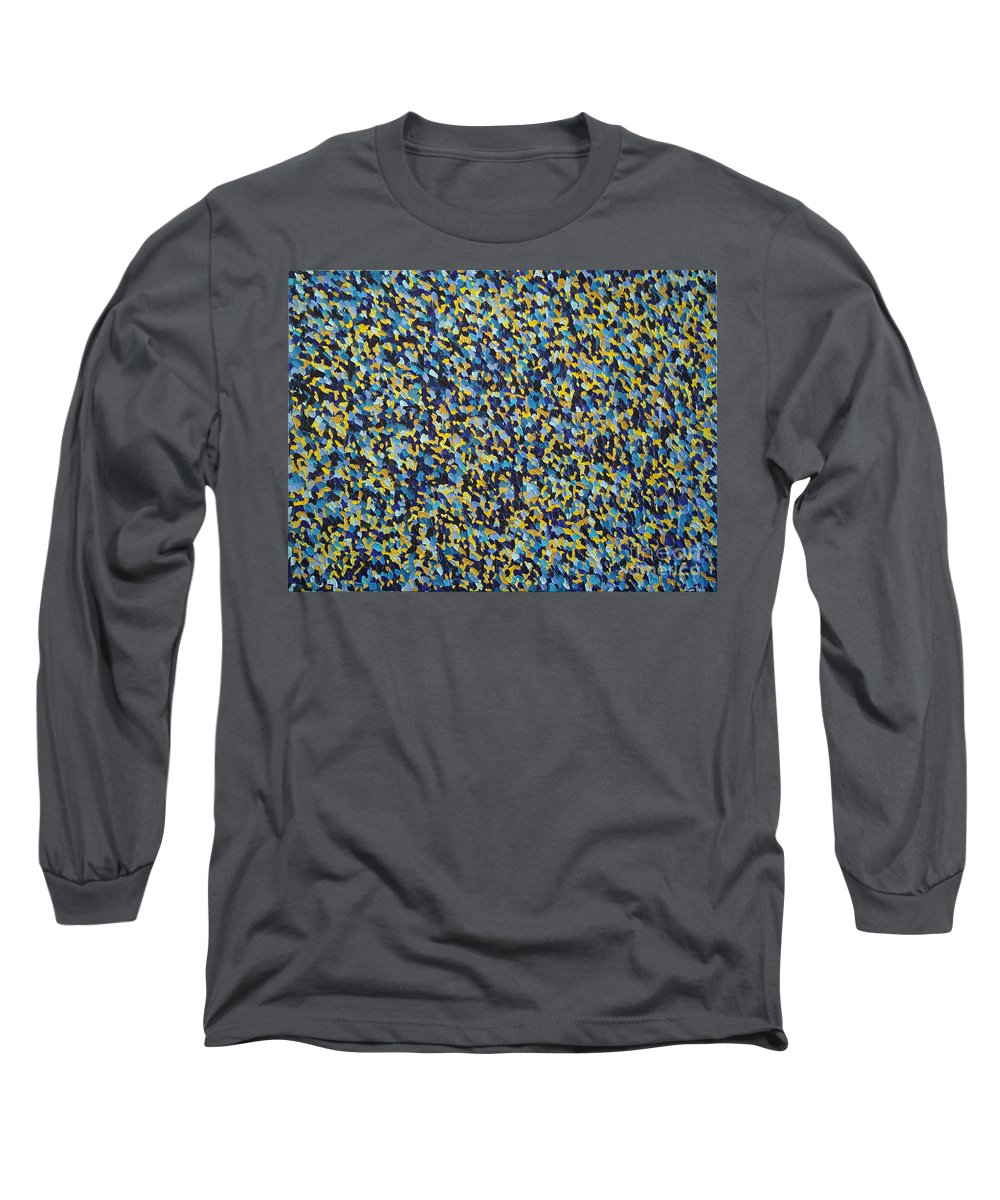 Abstract Long Sleeve T-Shirt featuring the painting Soft Blue With Yellow by Dean Triolo