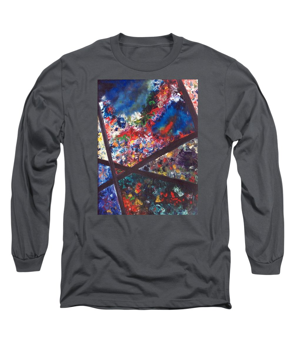 Abstract Long Sleeve T-Shirt featuring the painting Spectral Chaos by Micah Guenther