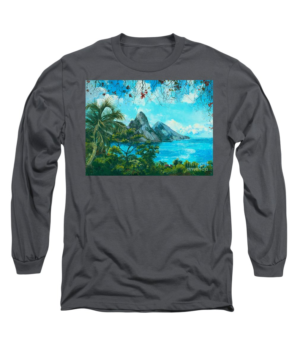 Mountains Long Sleeve T-Shirt featuring the painting St. Lucia - W. Indies by Elisabeta Hermann