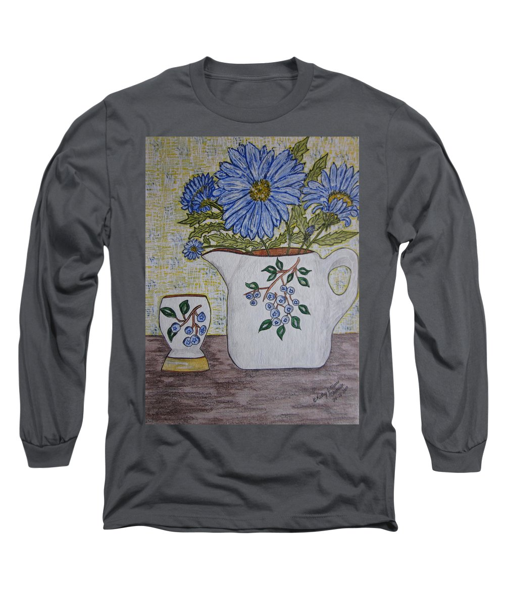 Stangl Blueberry Pottery Long Sleeve T-Shirt featuring the painting Stangl Blueberry Pottery by Kathy Marrs Chandler