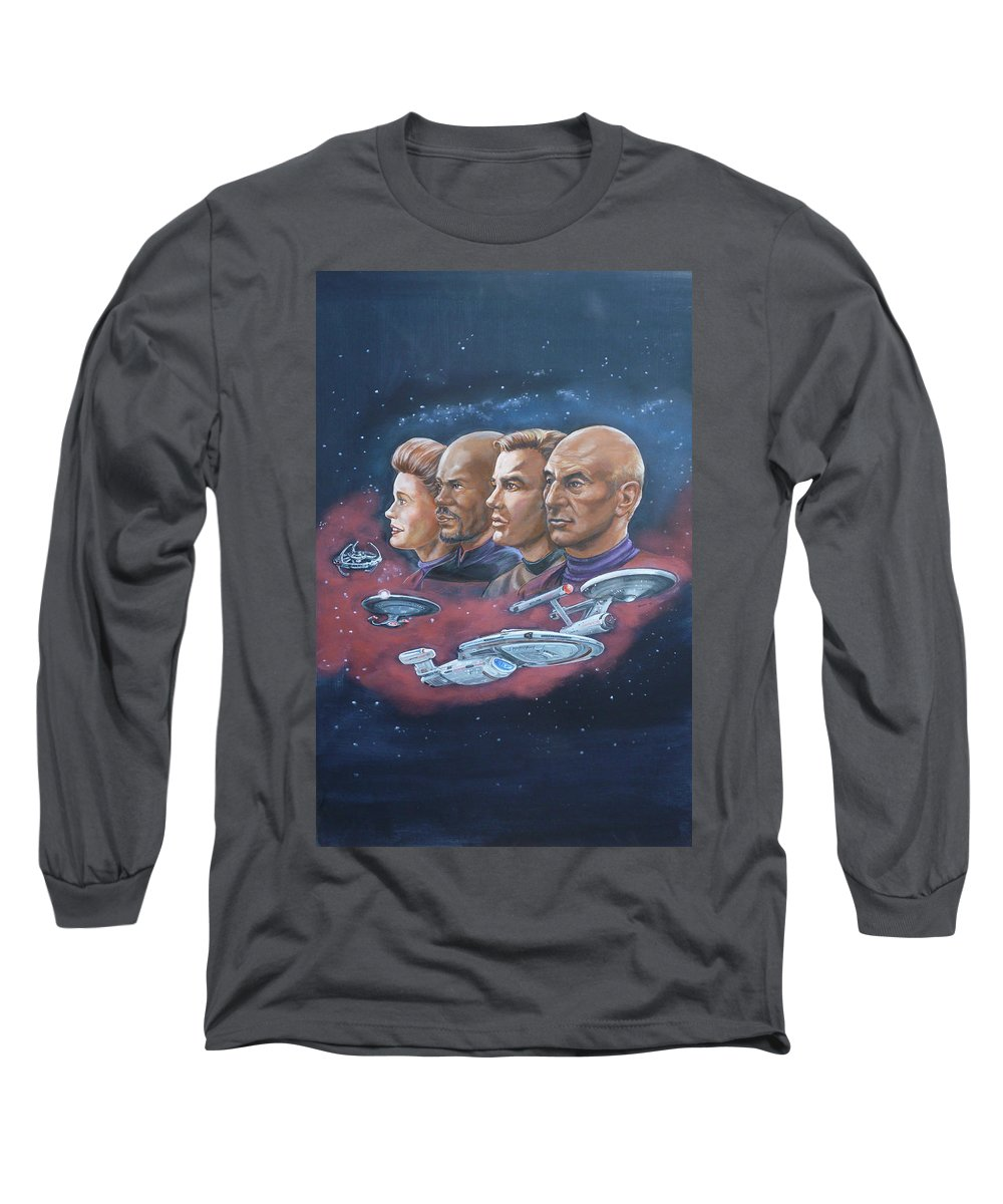 Star Trek Long Sleeve T-Shirt featuring the painting Star Trek Tribute Captains by Bryan Bustard