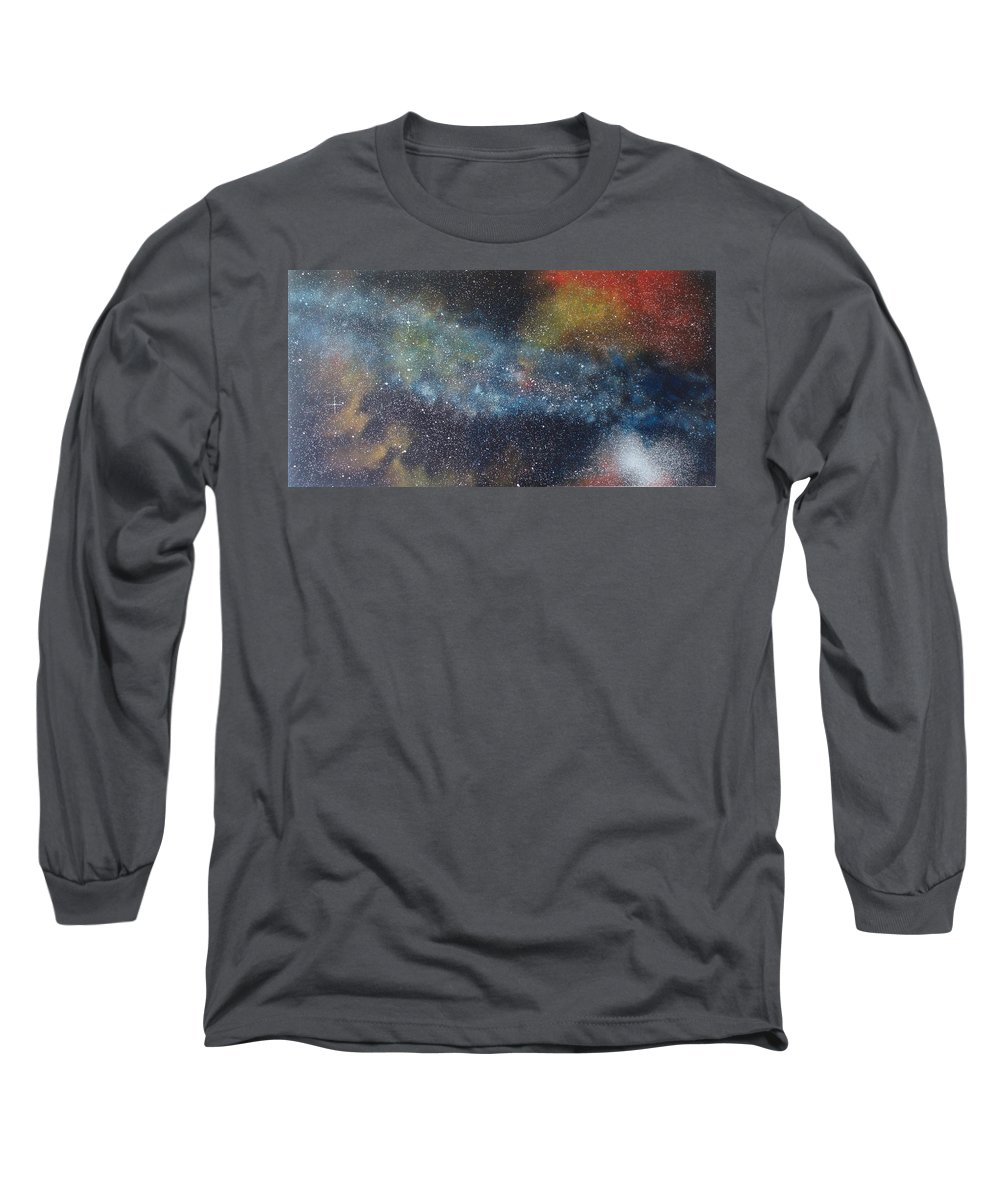 Space;stars;starry;nebula;spiral;galaxy;star Cluster;celestial;cosmos;universe;orgasm Long Sleeve T-Shirt featuring the painting Stargasm by Sean Connolly