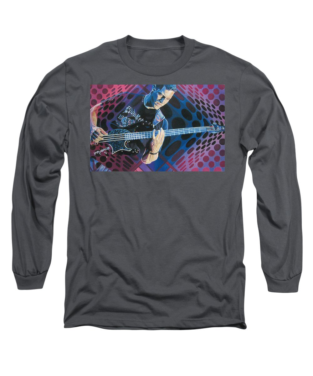 Stefan Lessard Long Sleeve T-Shirt featuring the drawing Stefan Lessard Pop-op Series by Joshua Morton