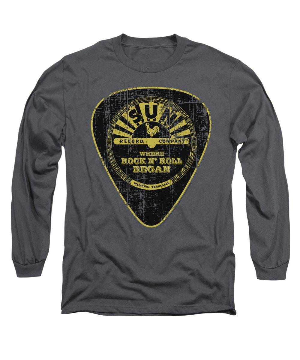 Sun Record Company Long Sleeve T-Shirt featuring the digital art Sun - Guitar Pick by Brand A