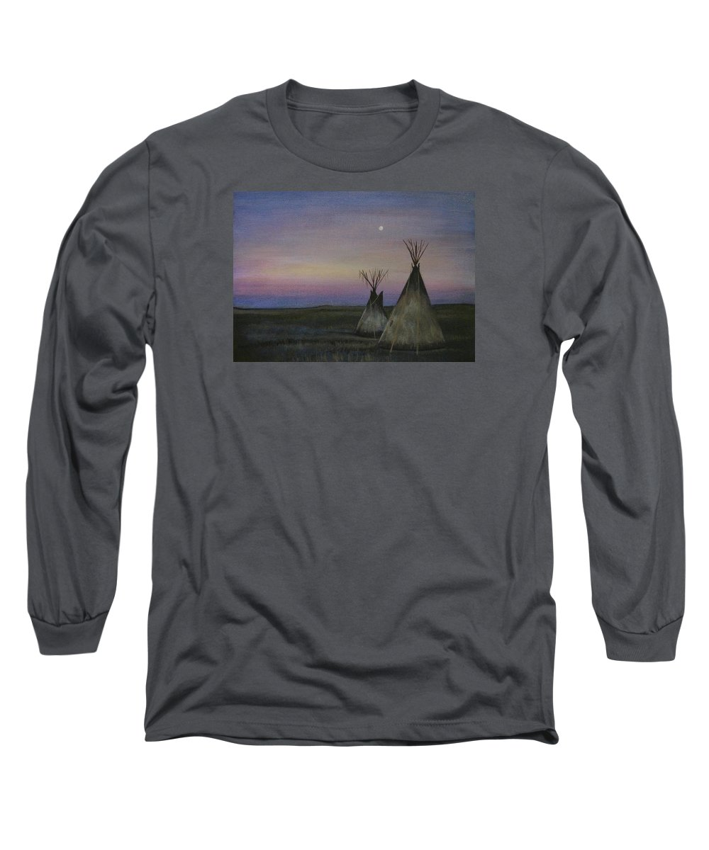 Tepee Long Sleeve T-Shirt featuring the painting Teepees by Lucy Deane