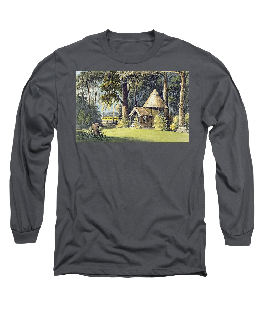 Thatched Long Sleeve T-Shirt featuring the painting The Hermitage, From Ackermanns by John Gendall