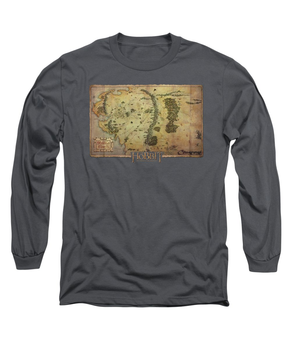 The Hobbit Long Sleeve T-Shirt featuring the digital art The Hobbit - Middle Earth Map by Brand A