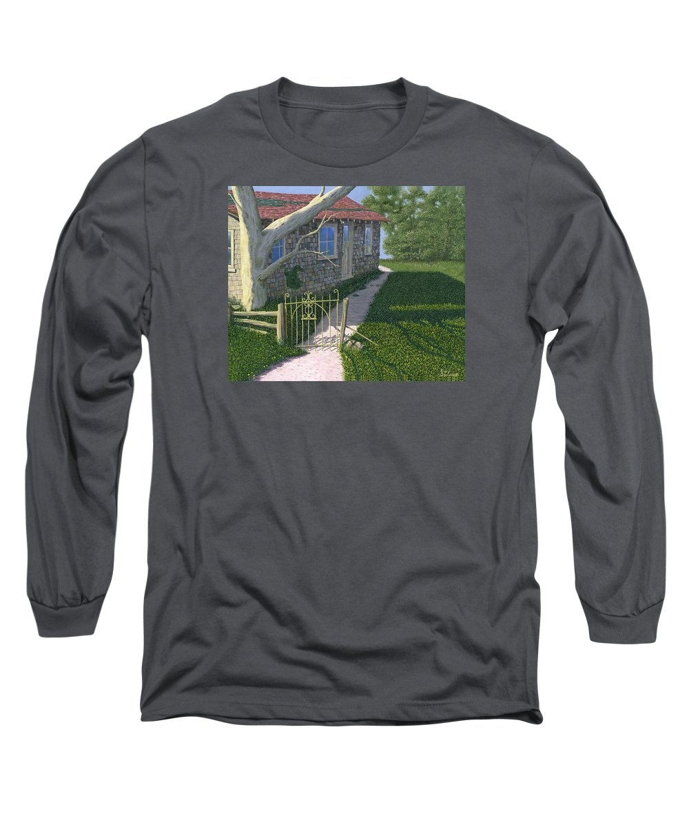 Old Farm Long Sleeve T-Shirt featuring the painting The Iron Gate by Gary Giacomelli