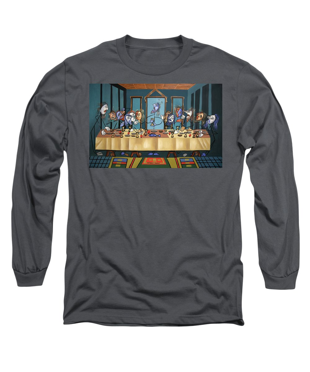 The Last Supper Long Sleeve T-Shirt featuring the painting The Last Supper by Anthony Falbo