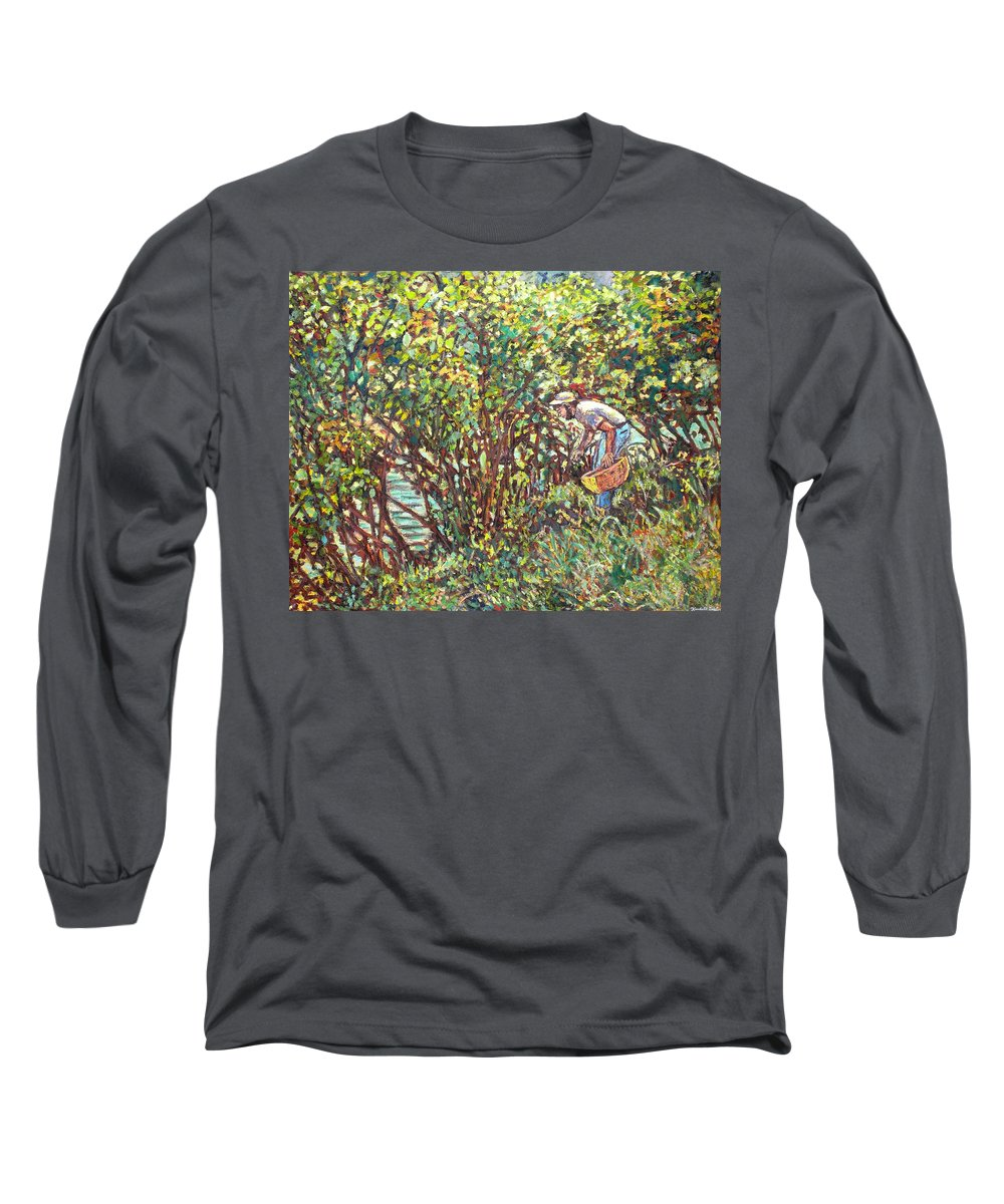 Landscape Long Sleeve T-Shirt featuring the painting The Mushroom Picker by Kendall Kessler