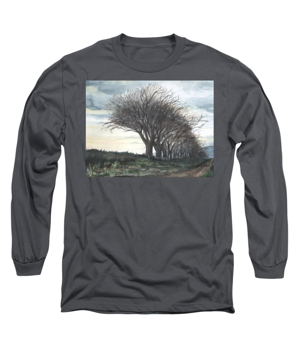 Watercolor Long Sleeve T-Shirt featuring the painting The Sentinels by Brenda Owen