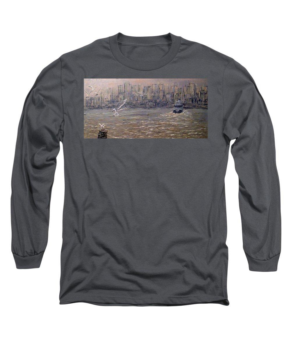 Toronto Long Sleeve T-Shirt featuring the painting Toronto Harbor Morning by Ian MacDonald