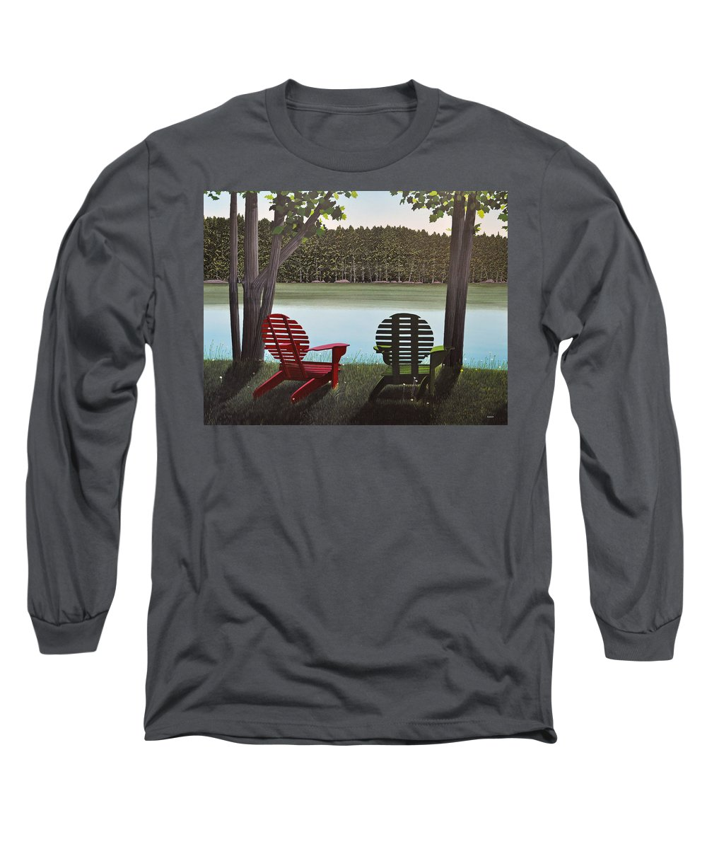 Landscapes Long Sleeve T-Shirt featuring the painting Under Muskoka Trees by Kenneth M Kirsch
