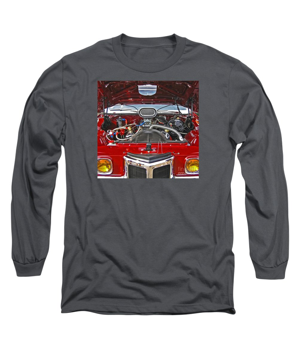 Car Long Sleeve T-Shirt featuring the photograph Under The Hood by Ann Horn
