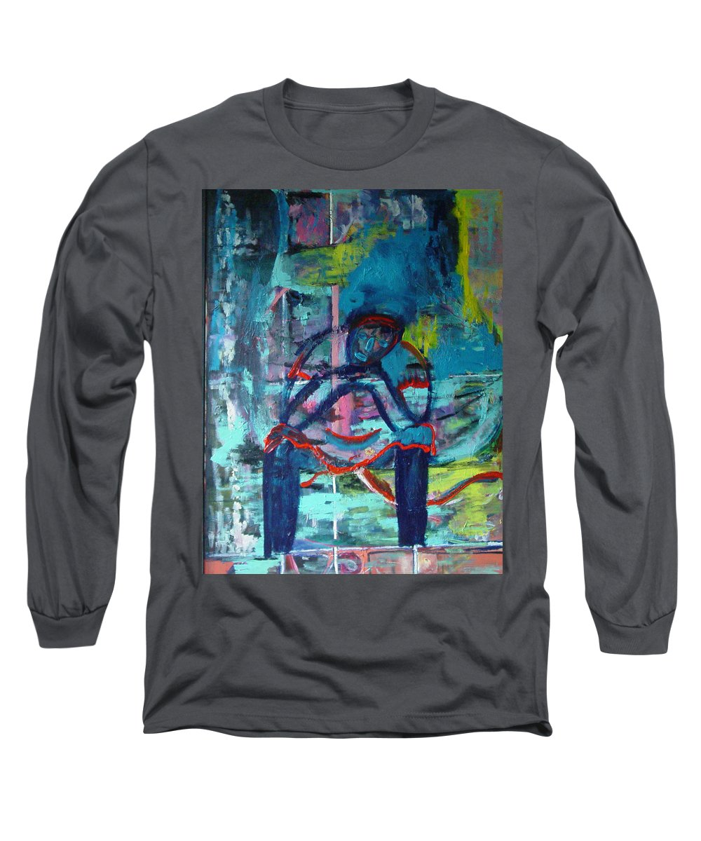 Woman On Bench Long Sleeve T-Shirt featuring the painting Waiting by Peggy Blood