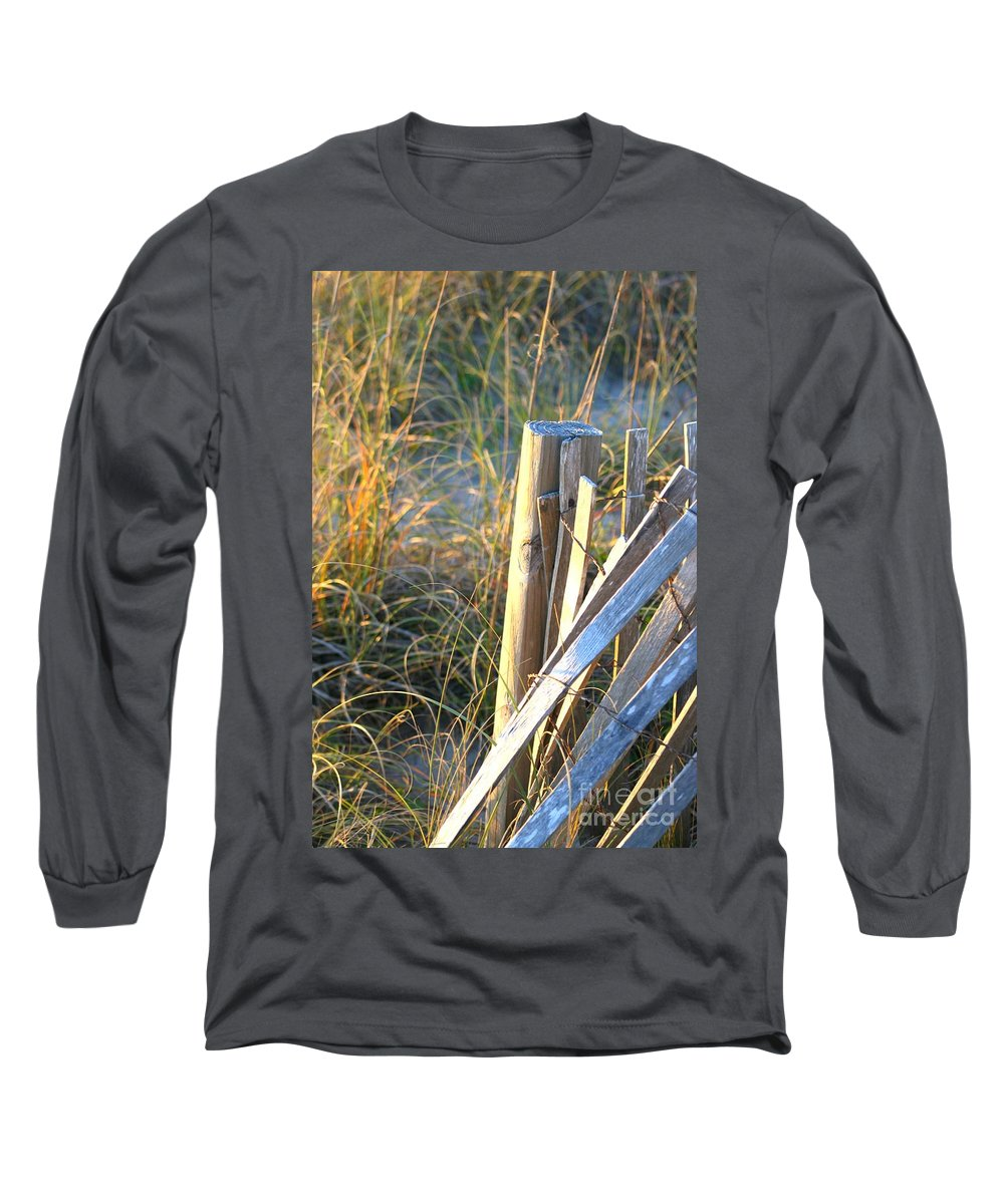 Post Long Sleeve T-Shirt featuring the photograph Wooden Post And Fence At The Beach by Nadine Rippelmeyer