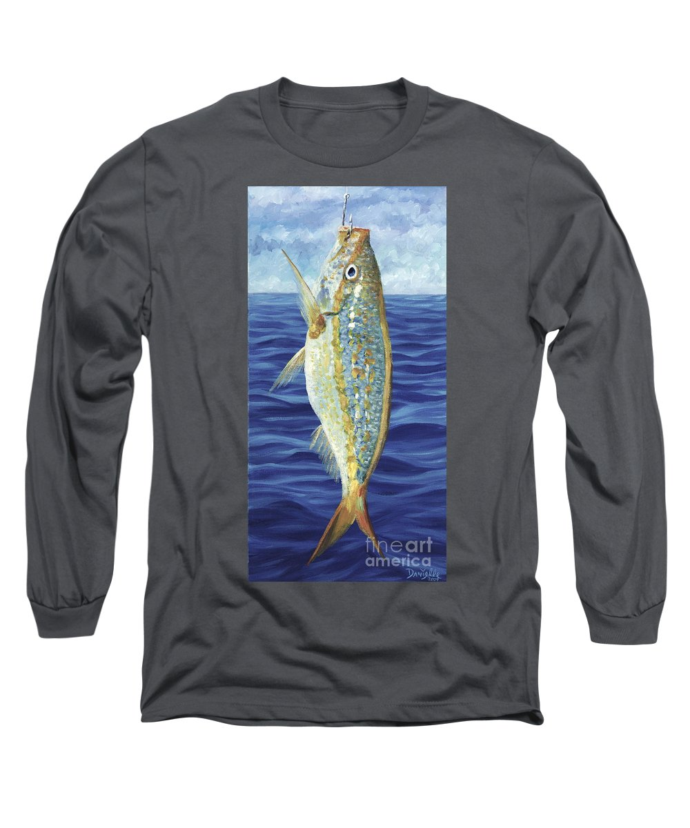 Snapper Long Sleeve T-Shirt featuring the painting Yellowtail On The Menu by Danielle Perry
