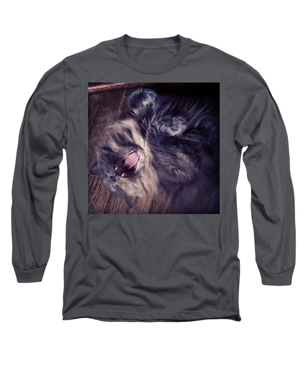 Fangs Long Sleeve T-Shirt featuring the photograph Has #fangs. Not Afraid To Use 'em by Katie Cupcakes