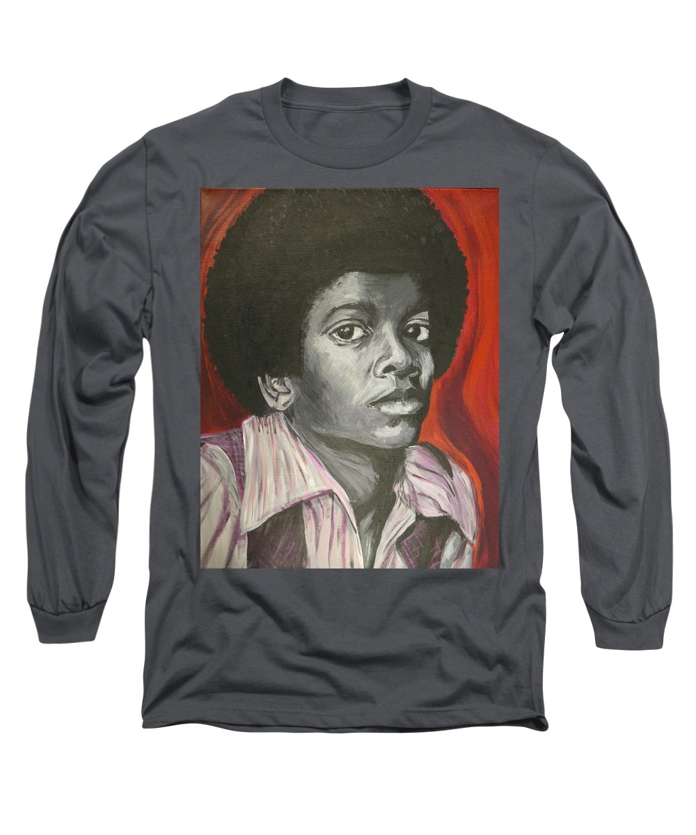 Michael Jackson Long Sleeve T-Shirt featuring the painting Michael Jackson by Kate Fortin
